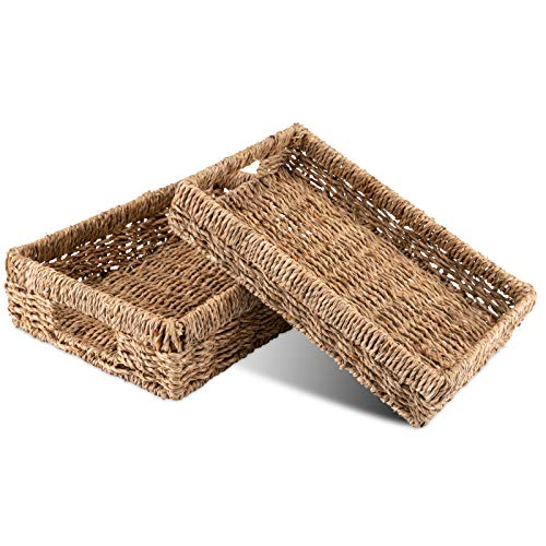 Decorasian Korb Aufbewahrung geflochten aus Seegras - Tablett rechteckig - 2er Set