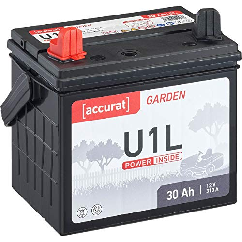 Accurat 30Ah 12V Rasentraktor-Starterbatterie Garden U1L (Pluspol links) Nass-Batterie für Aufsitzmäher wartungsfrei und geladen