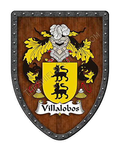 Villalobos Family Crest Custom Coat of Arms, Family Ancestry and Heritage Hanging Metal Wall Plaque Shield - Hand Made in the USA