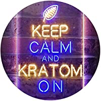 Keep Calm and Kratom on Dual Color LED看板 ネオンプレート サイン 標識 青色 + 黄色 300 x 400mm st6s34-i3213-by