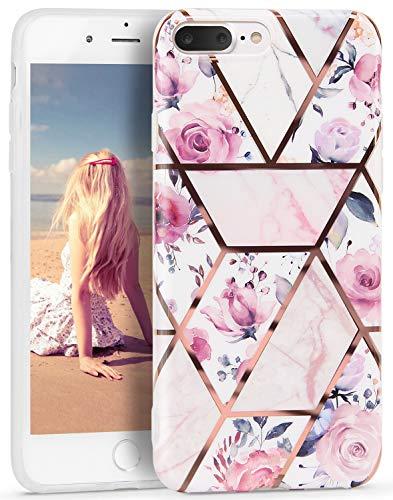 Imikoko Hülle für iPhone 7 Plus/iPhone 8 Plus Glitter Bling  Handyhülle TPU Silikon Weiche Schlank Schutzhülle Handytasche Flexibel Case Handy Hülle, Blumen 1