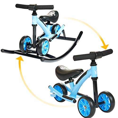 Great Deal! Mobo Cruiser Wobo Rocking Horse Ride On & Baby Balance Bike, Blue, Fits inseams 12-20 in...