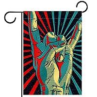 ガーデンフラッグ、庭の旗、デコヤードバナー農家の装飾ロックロールサインパターンで手 垂直バナー28x40インチ