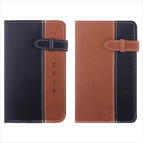 2014 Pocket Diary, Day a Page ,Leather effect, Brown Belt Tab