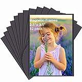 HIIMIEI Marcos de Fotos Magnéticos para Refrigerador 2,5''x3.5'' (9x6,35 cm), Marco de Fotos Imán para Nevera y Pizarra Magnética (Paquete de 12)
