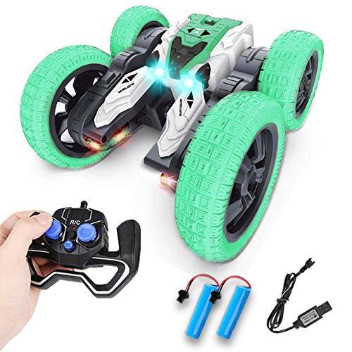 Ferngesteuertes Auto 2,4 GHz 4WD mit LED, Kindergeschenk Wiederaufladbar RC Stunt Auto High Speed Rennauto mit 360° Rotation und 180° Flip für Kinder Jungen Mädchen Erwachsene (Grün-1)