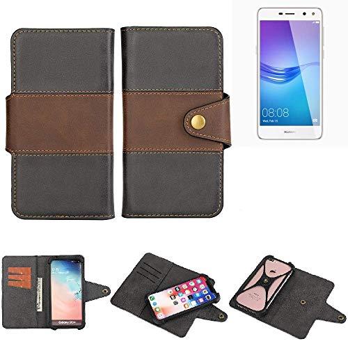 K-S-Trade® Handy-Hülle Schutz-Hülle Bookstyle Wallet-Case Für -Huawei Y6 (2017) Single SIM- Bumper R&umschutz Schwarz-braun 1x