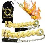 Flames 'N Games Cuerda Trenzada POI - Viper - Pro POI de Fuego Set Bolsa de Viajo! Malabarismo de Fuego para Principiantes y Profesionales