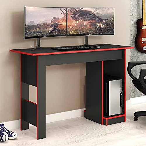 Mesa De Computador Gamer Fellicci Móveis Grafite E Vermelho