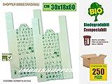 BUSTE SHOPPER BIODEGRADABILI COMPOSTABILI Cm 30+18x60 | SCATOLA DA 250 SACCHETTI, CONFORMI NORMATIVA EN13432