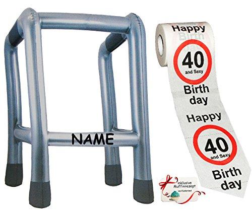 alles-meine.de GmbH 2 TLG. Set: __ Gehhilfe - ( Aufblasbar ) incl. Name + Toilettenpapier Rolle - 40. Geburtstag / vierzig und Sexy - Happy Birthday - lustiger Partyartikel -..