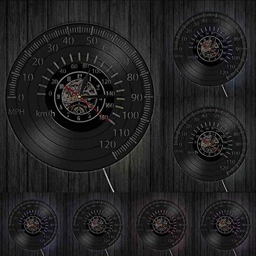 KDBWYC Reloj de Pared con Registro, velocímetro, Reloj de Pared, café Retro y Arte, Motocicleta, Bicicleta de Carreras, Vinilo, luz, 12 Pulgadas, con LED