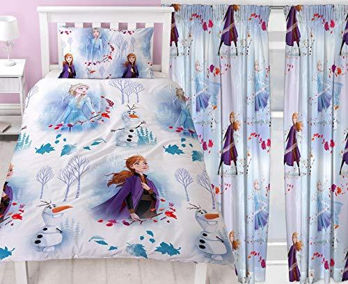 Frozen 2 Element Single Rotary Duvet & Matching 66' x 72' Drop Readymade Curtains Bedding Set
