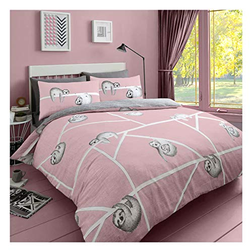 Lions Pink Bedding Set Double Bed - Duvet Cover Quilt With Pillow Case Easy Care Reversible (Sloth Pink)