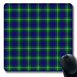 Ahawoso Mousepads for Computers Checkered Blue Scotland Patterned Clan Hamilton Hunting Plaid Abstract Green Tartan Ancient Celtic Oblong Shape 7.9 x 9.5 Inches Non-Slip Oblong Gaming Mouse Pad