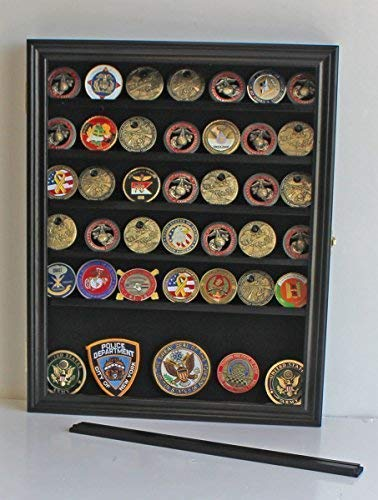 DisplayGifts Real Glass Door Military Antique Challenge Coin Display Case Cabinet Rack Holder Lockable Black Finish