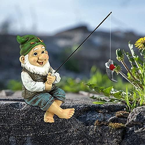 Estatuas de pesca, estatua de gnomo de pesca de jardín, estatua de resina de jardín de pesca, estatua de gnomo de jardín de pescador, gnomos al aire libre para decoración de jardín al aire libre