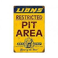 2個 ライオンズドラッグストリップピットエリア広告サインホットロッドスタイルレトロガレージオイルサイン8X12インチ