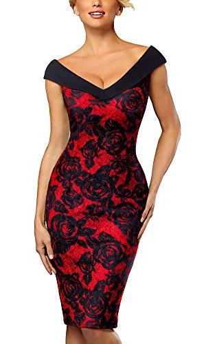 HOMEYEE Damen Elegant V-Ausschnitt Ärmelloses Vintage Rose Floral Cocktailkleid B425(EU 38 = Size M,Rot)