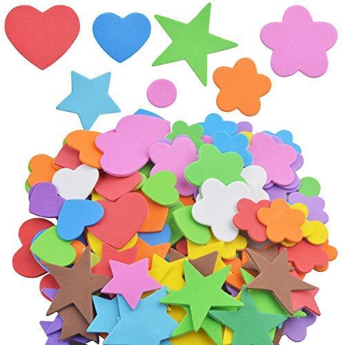 Aylifu 140er Set Moosgummi Sticker Schaumstoff Aufkleber zum Verzieren und Basteln - Herz, Stern, Blume