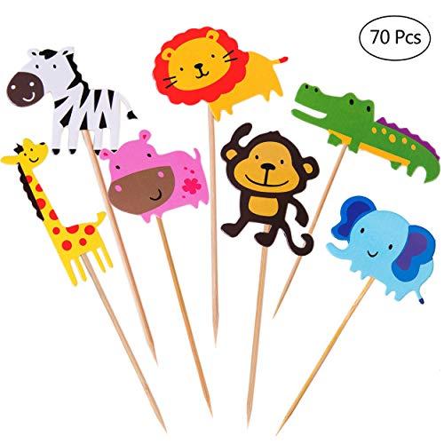 HONGXIN-SHOP Animales Cupcake Toppers Lindo Selva Temática Animales En Forma de Pastel Toppers para Niños Ducha de Bebé Fiesta de Cumpleaños DIY Decoración Suministros 70 Piezas