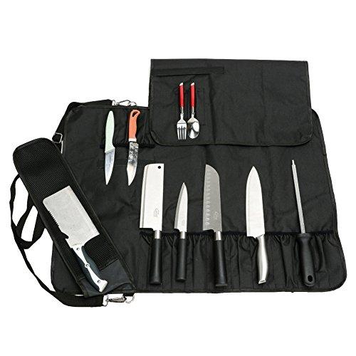 QEES 17 Fächer Messeraufbewahrung mit großer Kapazität, Rollentaschenwerkzeug für Dickes Messer, Fleischermesser, Messertasche für Köche, Küchenwerkzeugtasche für Küchenmesserset