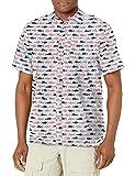 Columbia Super Slack Tide Camp Camisa para Hombre, Hombre, 1653761, Estampado de pez Americano Blanco, M