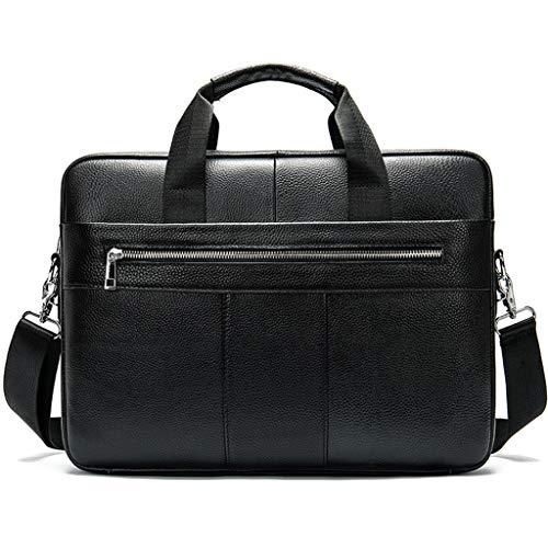 PING - Maletín de cuero genuino para hombre, para negocios, mensajero y portátil, bolso, Bk,