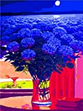 Pintura por números,Flor azul estrellada Decoración del hogar del artista de la pintura al óleo de la lona preimpresa de bricolaje Inicio 40x50cm (Rainbow Pony).
