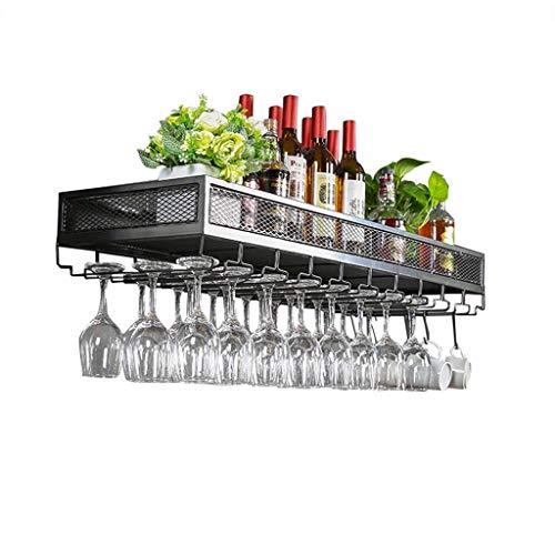 Mnjin - Botellero Industrial para Colgar en la Pared, Barra para Copas de Vino, Soporte para Botella de Boca Abajo, Soporte para Colgar Botellas Creativas, Color Negro, tamaño: 80 cm