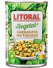 LITORAL Vegetal Garbanzos con Espinacas - Plato Preparado Sin Gluten - Pack de 5x425g - Total: 2.12kg