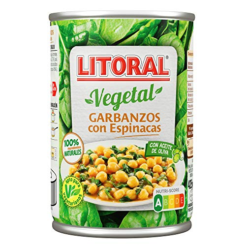 LITORAL Vegetal Plato Preparado de Garbanzos con Espinacas, Sin Gluten, 425g