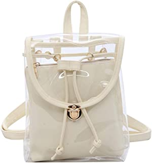 Mini Clear Backpack with Removable Pouch Transparent PVC Shoulder Bag Handbag