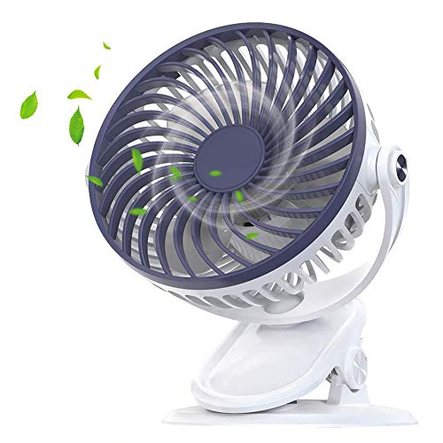 Clip on Fan, 3 Speeds 2200Mah Large Battery Powered Fast Air Circulating USB Rechargeable Desk Fan, for Baby Stroller Home Office Camping Outdoors Tent Beach