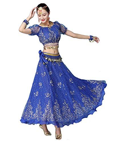 Grouptap Bollywood blau indische Frauen Damen Phantasie Anarkali Salwar Kameez Kleid arabische Prinzessin Bauchtanz Rock Outfits Kostüm (Blau, 150-170 cm, 45-70 kg)