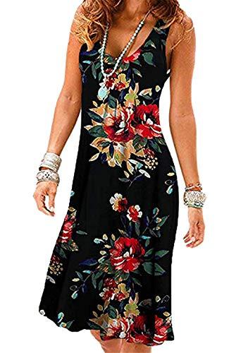 OMZIN Damen Kleider Schulterfrei Lässige Kleid Locker Rundhals Strandkleid Schwarz/Rote Blume S