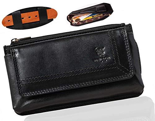 MATADOR Funda para cinturón de piel auténtica, trabilla para cinturón, protección RFID, tarjetero, funda para móvil hasta 6,1 pulgadas, cremallera horizontal (negro)