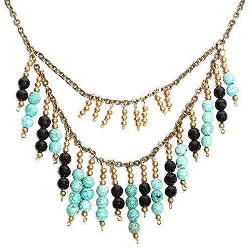 Chicnet ketting staafjes turquoise onyx zwart goud brass nikkelvrij Ethno designer sieraden