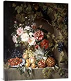 Global Gallery Budget Antonie Rietveld Still Life with A Basket of Flowers Gallery Wrap Giclee on Canvas Wall Art Print