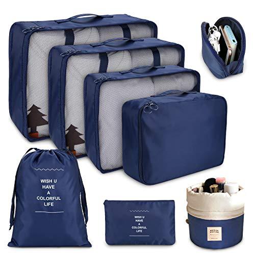 DIMJ Packing Cubes for Travel, 8Pcs Travel Cubes Set Foldable Suitcase Organizer Lightweight Luggage Storage Bag (Dark Blue)