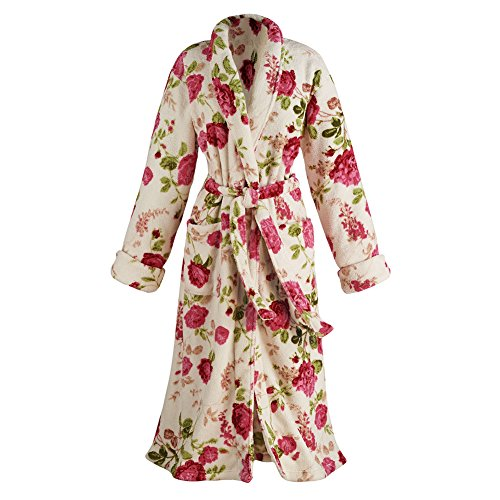 Women's Rose Print Long Robe - Floral Shawl Collar Bathrobe with Long Sleeves, Patch Pockets and Waist Tie - Large