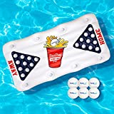 Floatastic Beer Pong Pool Float - Inflatable Floating Beer Pong Table Pool Games for Adults - Ultimate Fun Lounger Raft for Pool Party & Beach - Giant Pool Floats Adult Size - Pool Toys for Adults