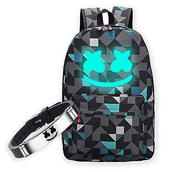 Smile Luminous Backpack & DJ Bracelet for Boys Fashion DJ Music Laptop Backpack School Daypack Travel Outdoor Rucksack