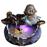 Fuente de Agua de Mesa Fuente de agua de la mesa de cerámica de los regalos de la smiley Lucky - Característica de agua relajante del escritorio del zen interior - interior de spa y decoración de yoga