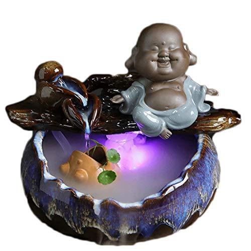 Decoración del hogar Fuente de agua de la mesa de cerámica de los regalos de la smiley Lucky - Característica de agua relajante del escritorio del zen interior - interior de spa y decoración de yoga F
