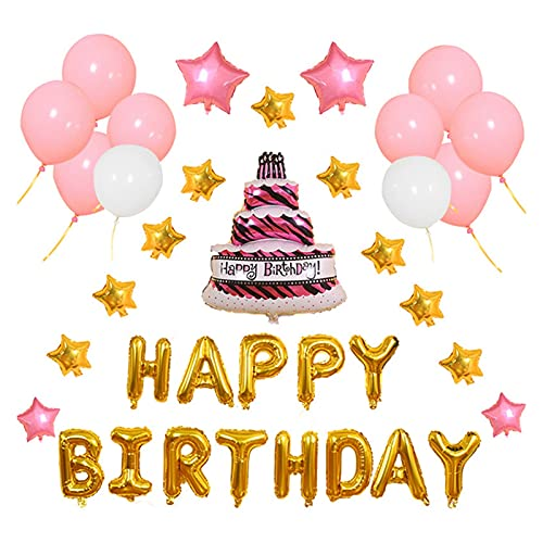 JSJJATF Globos Fiesta de cumpleaños Ballon Feliz cumpleaños Decoraciones de Fiesta Baby Shower New Blue Pink Cake Star Letra Balloon Set Cumpleaños (Color : Pink)