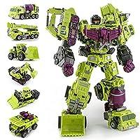 トランスフォーマーのおもちゃ、 6IN1 KO.アクションフィギュアロボットおもちゃギフトDADATATOR変換G1特大6 1でBoneCrusher Scrapper Haul Mixmasterフック 、誕生日プレゼント (Color : Green)