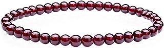 Pulsera de Piedras Preciosas Naturales de 4 mm, Granate Pulsera elástica Hecha a Mano,cordel elástico, unisex