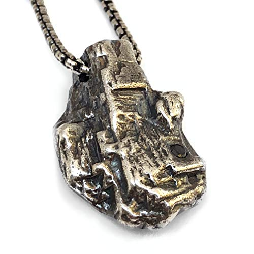 Handmade Oxidized Silver Pendant Necklace With a Flush Set Black Diamond - Diamond In The Rough