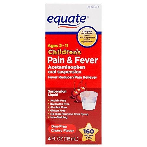 Equate - Children's Pain & Fever Acetaminophen 160 mg, Suspension Liquid, Dye-Free Cherry, 4 oz